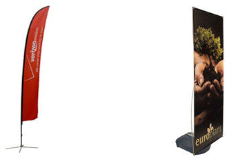 Feather and teardrop flag banner are excellent choices for outdoor displays