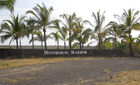 Lava rock wall Kona Hawaii after mounting fabricated metal letters signs