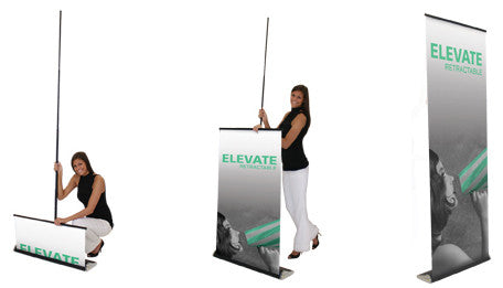 Black with Square Base Large 36 x 24 Stand /& Graphic Double-Sided Graphic Package Personalized Classic Banner Stand