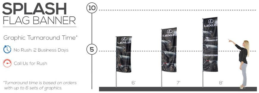 Splash indoor outdoor flag display size reference chart