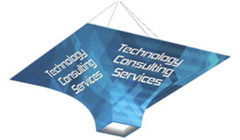 Square Funnel Shaped Trade Show Hanging Banner Display