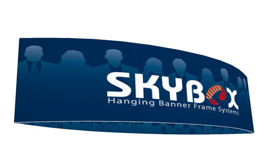 Football shaped hanging banner display inside and outside graphic package 10 foot by 48 inch