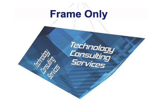 Four sided pyramid hanging banner display frame only