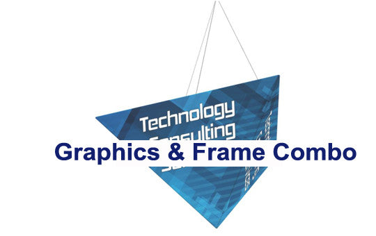 three sided pyramid hanging banner display 16 foot by 8 foot frame and graphic combo