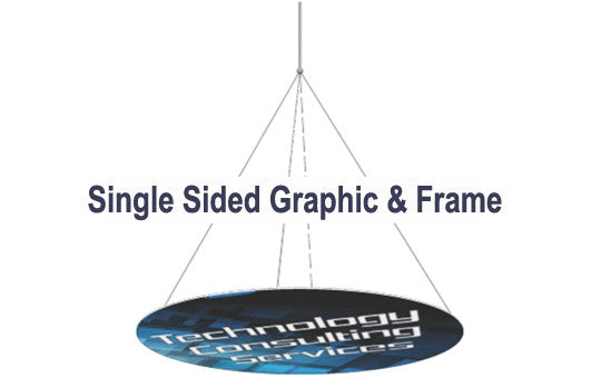 18 Foot Horizontal Disc Hanging Trade Show Display Single Sided Graphic and Frame