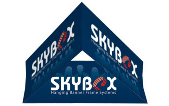 Skybox Hanging Display Banner Triangle Shaped 5 foot by 60 inch Inside And Outside Graphic Package