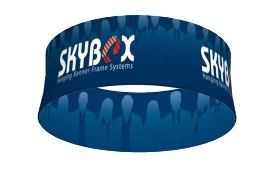 5 foot wide by 72 inch tall round circle hanging banner display inside and outside graphic package