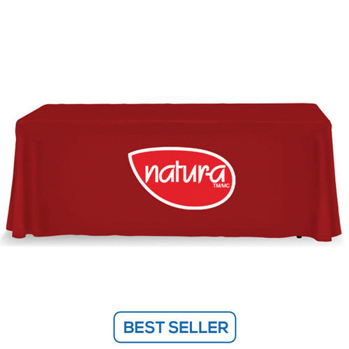 6 Foot 3-Sided Stock Color RED with 2 Color Logo Imprint Table Covers