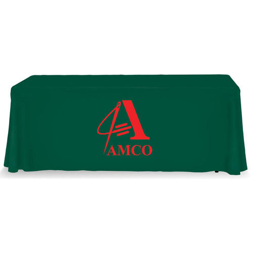 6 Foot 4-Sided Stock Color GREEN with 1 Color Logo Imprint Table Covers