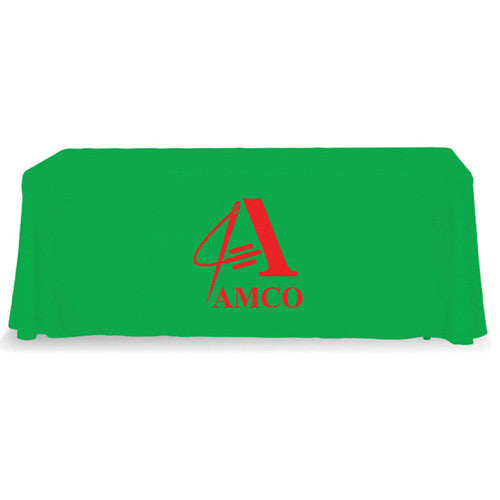 6 Foot 4-Sided Stock Color LIME GREEN with 1 Color Logo Imprint Table Covers
