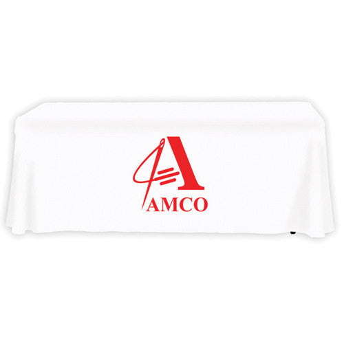 6 Foot 4-Sided Stock Color WHITE with 1 Color Logo Imprint Table Covers