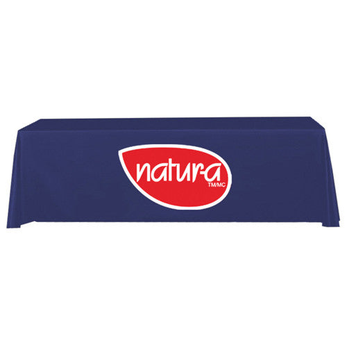 8 Foot 3-Sided Stock Color BLUE with 2 Color Logo Imprint Table Covers