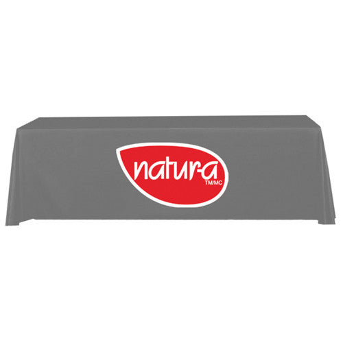 8 Foot 3-Sided Stock Color GRAY with 2 Color Logo Imprint Table Covers