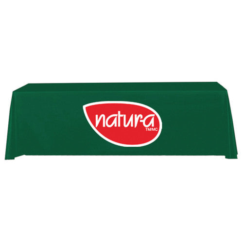 8 Foot 3-Sided Stock Color GREEN with 2 Color Logo Imprint Table Covers