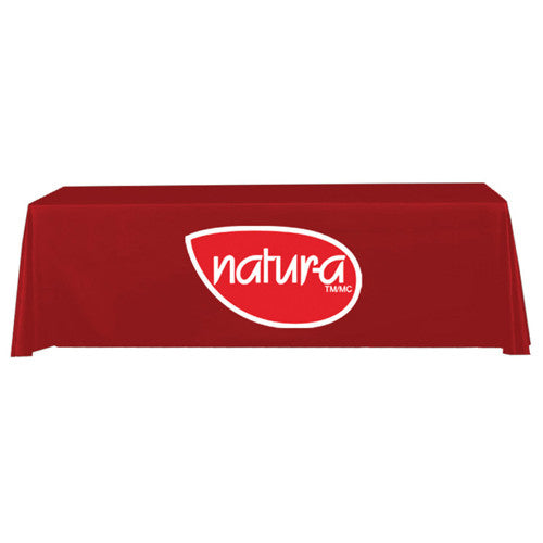 8 Foot 3-Sided Stock Color RED with 2 Color Logo Imprint Table Covers