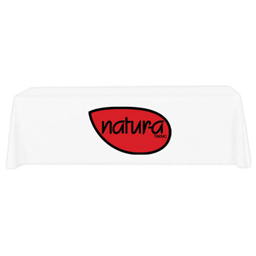 8 Foot 3-Sided Stock Color WHITE with 2 Color Logo Imprint Table Covers