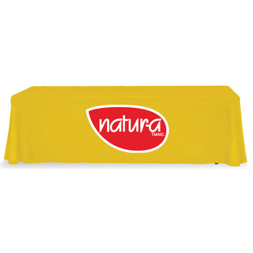8 Foot 3-Sided Stock Color YELLOW with 2 Color Logo Imprint Table Covers
