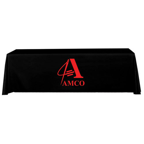 8 Foot 4-Sided Stock Color BLACK with 1 Color Logo Imprint Table Covers