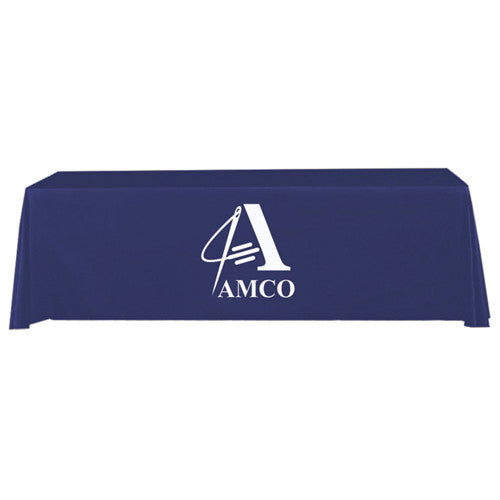 8 Foot 4-Sided Stock Color BLUE with 1 Color Logo Imprint Table Covers