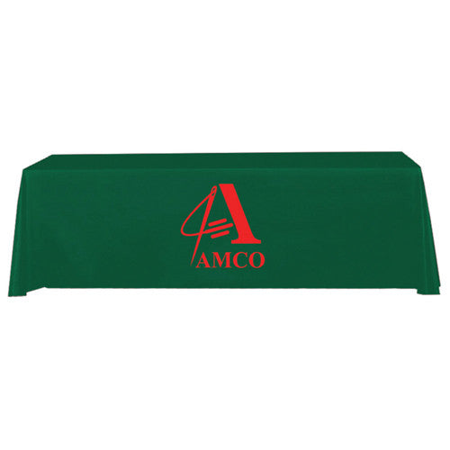 8 Foot 4-Sided Stock Color GREEN with 1 Color Logo Imprint Table Covers