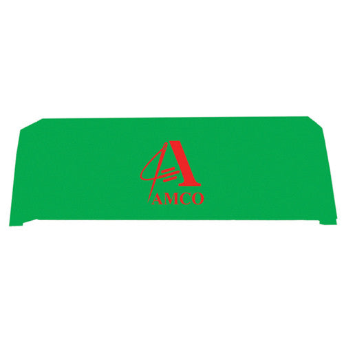 8 Foot 4-Sided Stock Color LIME GREEN with 1 Color Logo Imprint Table Covers