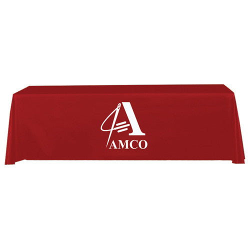 8 Foot 4-Sided Stock Color RED with 1 Color Logo Imprint Table Covers