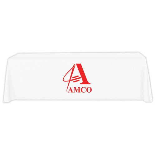 8 Foot 4-Sided Stock Color WHITE with 1 Color Logo Imprint Table Covers