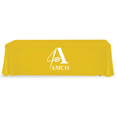8 Foot 4-Sided Stock Color YELLOW with 1 Color Logo Imprint Table Covers