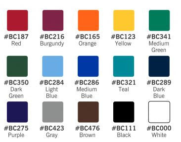Area Imprint Choose from 15 Background Colors