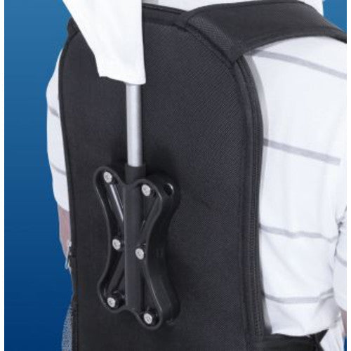 Close-up of backpack. Comes with adjustable support straps