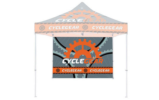 Double Sided Back Wall Full Color Plus 1 Steel Rail For 10 Foot Steel Custom Canopy Pop Up Tent Graphic Only