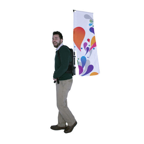Backpack Walking Flag Double Sided Graphic Only 1.5 feet by 3.0 feet