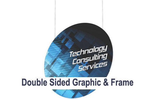 16 Foot Vertical Disc Hanging Trade Show Display Graphic and Frame