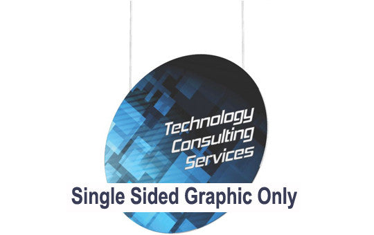 18 Foot Vertical Disc Hanging Trade Show Display Single Sided Graphic Only