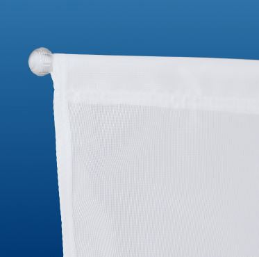 Close-up of window banner flag hanging kit pole and media