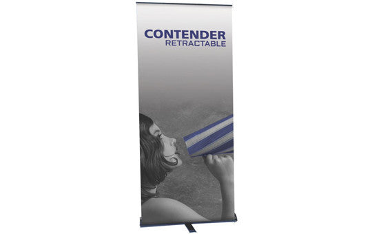 "Contender 29.5"" W by 77.5"" H Single Sided Retractable Banner Stand"