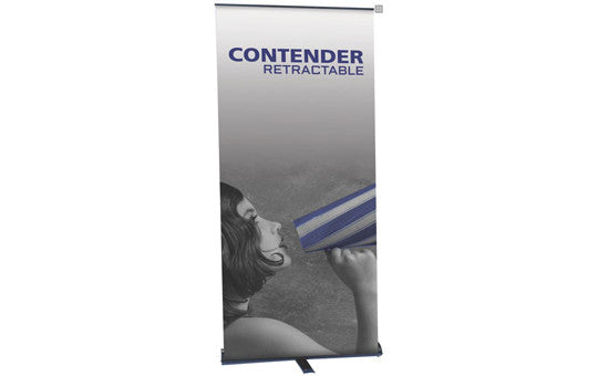"Contender 35.5"" W by 77.5"" H Single Sided Retractable Banner Stand"