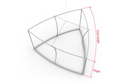 12 foot by 48 inch curved triangle hanging banner display frame