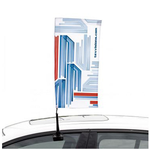 "Rectangle Shape Custom Car Flag – Single Sided 11.5"" W by 23.5"" Tall Graphic and Pole/Hardware"