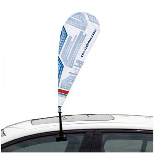 "Teardrop Shape Custom Car Flag – Single Sided 9.5"" W by 25"" Tall Graphic and Pole/Hardware"