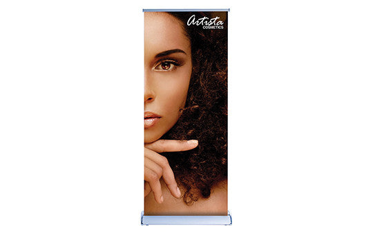 "Double Sided Silver Wing 33.5"" Retractable Banner Stand"