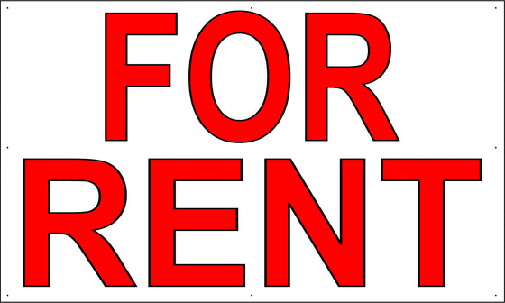 For Rent 3' Tall by 5' Wide Vinyl Banner