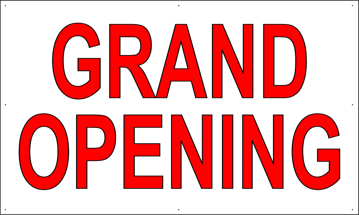 Grand Opening 3' Tall by 5' Wide Vinyl Banner