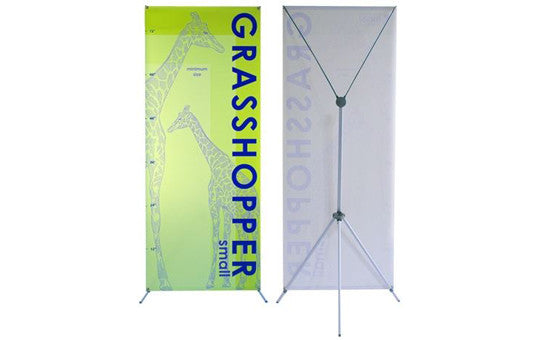"18 inch to 32 inch wide by 63"" to 79"" tall adjustable banner stand"
