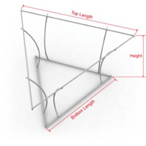 Tapered triangle hanging banner display frame