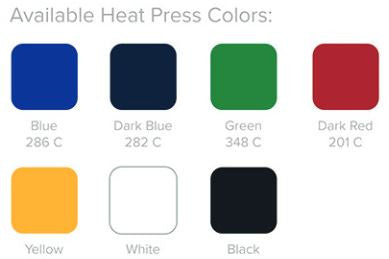 Heat Press Stock Colors for custom print square umbrellas