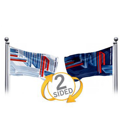 "12"" Wide by 6"" H Double Sided Custom Outdoor Pole Flag ""Landscape Layout"""