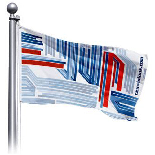 """120"""" Wide by 60"""" H Single Sided Custom Outdoor Pole Flag """"Landscape Layout"""""""