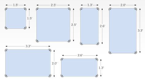 Layout template for window hanging kit