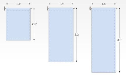 Layout template for window hanging kit with suction cup and banner arm
